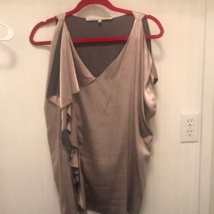 Taupe and brown, satin v-neck top